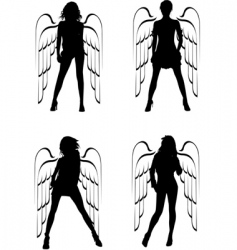 winged girls vector image