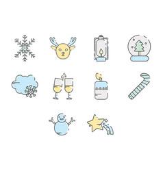winter season icon set vector image