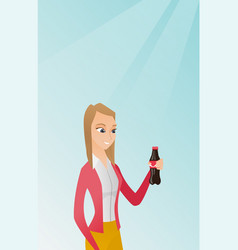 young woman drinking soda vector image
