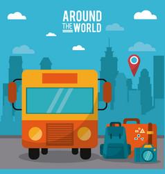 around the world bus pin map luggage photo camera vector image