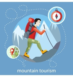 Mountain tourism vector image vector image