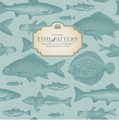 retro fish pattern vector image vector image
