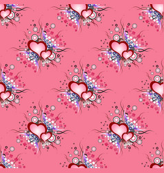 seamless background pattern set of grunge hearts vector image vector image