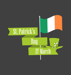 stpatrick s day ribbon with text and flag vector image