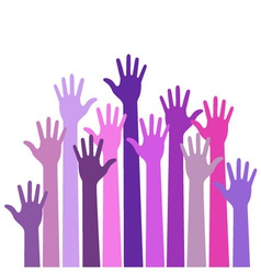 Violet colorful up hands vector image