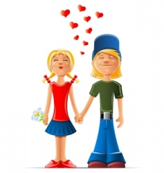 cartoon boy and girl in love vector image