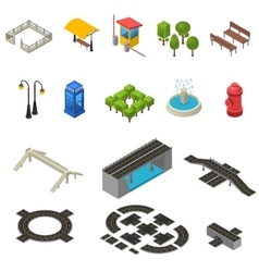 City Isometric Icons Set vector image vector image