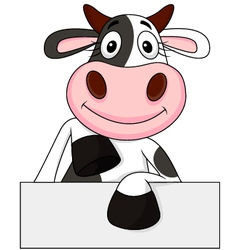 Cute Cow with blank sign vector image