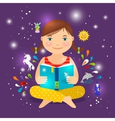 Cute girl reading book about magic vector image