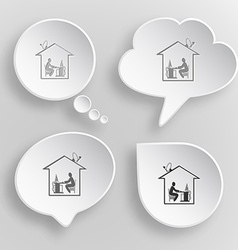 Home work white flat buttons on gray background vector