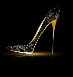 lace black shoe vector image vector image