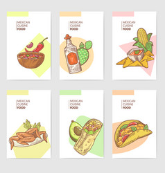 mexican food hand drawn brochure template set vector image