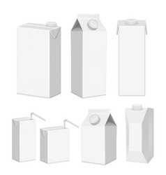 realistic white blank juice carton package vector image
