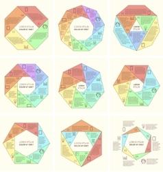 Set of polygonal infographic diagram vector image