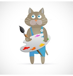 Cartoon cat as artist with palette vector image vector image