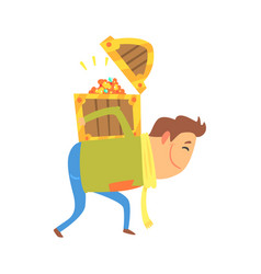 cartoon man carrying the treasure chest on his vector image