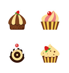 flat cake set of confectionery pastry sweetmeat vector image