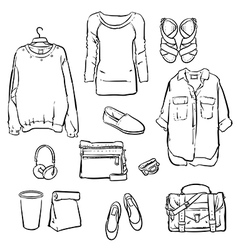 Hand drawn fashionable womens clothes vector image vector image