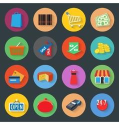 Market flat icons set vector image vector image