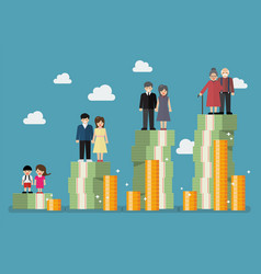 people generations with retirement money plan vector image vector image