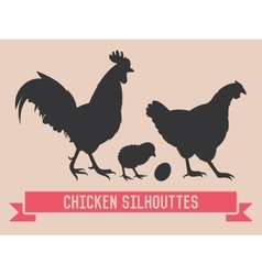 Chicken silhouettes vector image