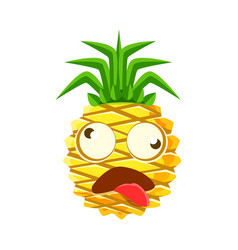 dizzy pineapple emoticon cute cartoon emoji vector image