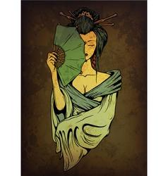 geisha on grunge background vector image