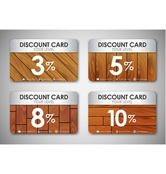 set of wooden discount cards vector image vector image