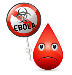 the sad drop of blood with yellow ebola virus vector image vector image