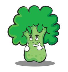 thinking broccoli chracter cartoon style vector image vector image