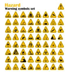 warning hazard triangle signs set vector image
