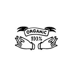 100 percent organic logo - a vintage vector