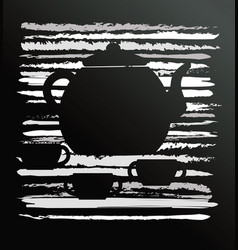 abstract caf design with jug and cup vector image