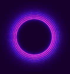 Abstract disco background with neon glowing circle vector