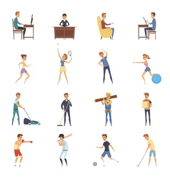Active Lifestyle Character Icons vector image vector image