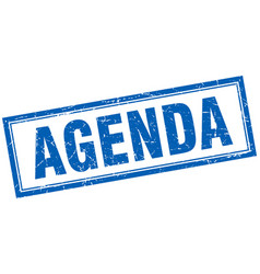 Agenda blue square grunge stamp on white vector