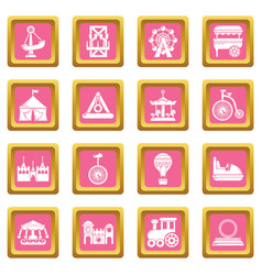 amusement park icons set pink square vector image
