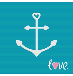 Anchor with shapes of heart Striped background vector image