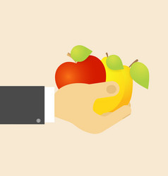 apple lemon pear in hand the concept of a natural vector image