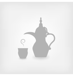 Arabic coffee white background vector image