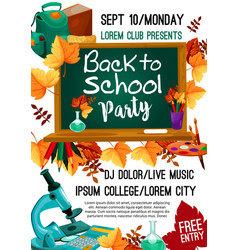 back to school autumn party poster vector image