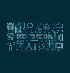 back to school blue concept linear vector image