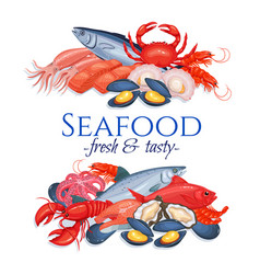 Banners seafood vector