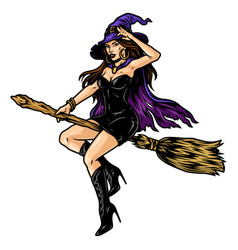 Beautiful witch in hat vector