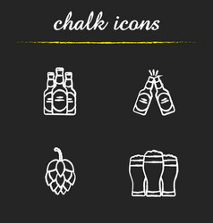 beer chalk icons set vector image