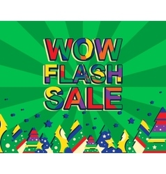 Big winter sale poster with WOW FLASH SALE text vector