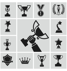 Black trophy vector
