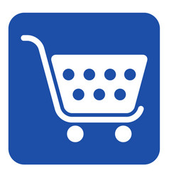 Blue white information sign - shopping cart icon vector