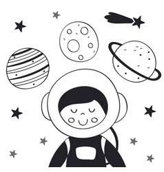 Boy astronaut in space scandinavian style vector