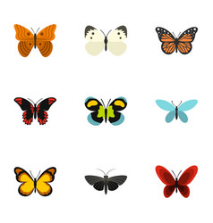 Bright motley butterflies icons set flat style vector